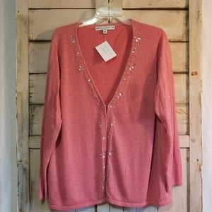 Vintage 1X Pink Sparkle Cardigan with Bead work